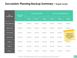 Succession Planning Backup Summary Simple Format Ppt Presentation Outline Clipart