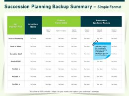Succession Planning Backup Summary Simple Format Staff Ppt Powerpoint Presentation Portfolio