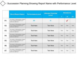 Succession Planning Showing Report Name With Performance Level