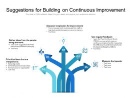 Suggestions For Building On Continuous Improvement