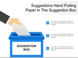 Suggestions Hand Putting Paper In The Suggestion Box