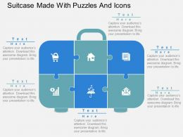 Suitcase Made With Puzzles And Icons Flat Powerpoint Design