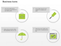 Suitcase Screwdriver Umbrella Check List Ppt Icons Graphics