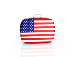 Suitcase With American Flag Design Stock Photo