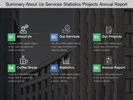 Summary About Us Services Statistics Projects Annual Report