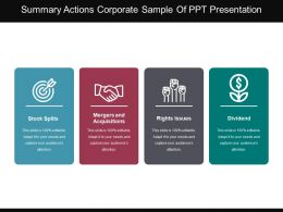 Summary Actions Corporate Sample Of Ppt Presentation