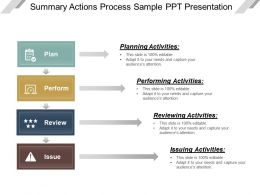 Summary Actions Process Sample Ppt Presentation