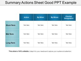 Summary Actions Sheet Good Ppt Example