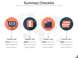 Summary Checklist Sample Of Ppt Presentation