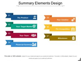 Summary Elements Design Presentation Powerpoint Example
