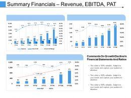 Summary Financials Revenue Ebitda Pat Powerpoint Slide Designs