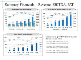 Summary Financials Revenue Ebitda Pat Powerpoint Slide Download