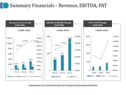 Summary Financials Revenue Ebitda Pat Ppt Pictures Design Inspiration