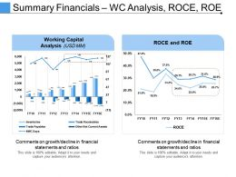 Summary Financials Wc Analysis Roce Roe Ppt Icon