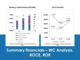 summary_financials_wc_analysis_roce_roe_ppt_professional_gallery_Slide01