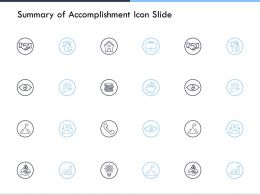 Summary Of Accomplishment Icon Slide Opportunity Ppt Powerpoint Presentation Ideas Influencers