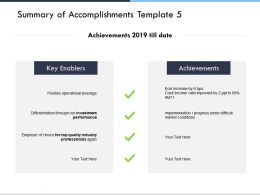 Summary Of Accomplishments Template Investment Performance D274 Ppt Powerpoint Presentation