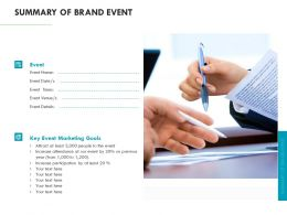 Summary Of Brand Event Marketing Ppt Powerpoint Presentation Portfolio Themes