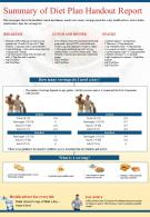 Summary Of Diet Plan Handout Report Presentation Report Infographic PPT PDF Document