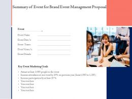 Summary Of Event For Brand Event Management Proposal Ppt Powerpoint Ideas