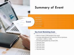 Summary Of Event Key Event Marketing Goals Ppt Powerpoint Presentation Inspiration Layout