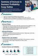 Summary Of Increase In Business Profitability Essay Outline Presentation Report Infographic PPT PDF Document