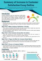 Summary Of Increase In Customer Satisfaction Essay Outline Presentation Report Infographic PPT PDF Document