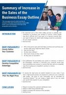 Summary Of Increase In The Sales Of The Business Essay Outline Presentation Report Infographic PPT PDF Document