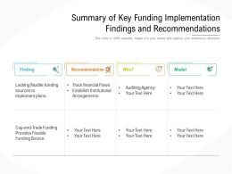 Summary Of Key Funding Implementation Findings And Recommendations