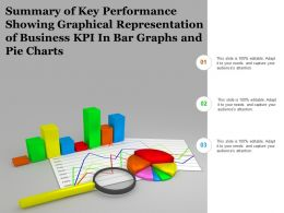 Summary Of Key Performance Showing Graphical Representation Of Business Kpi In Bar Graphs And Pie Charts