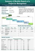 Summary Of Monthly Reports Of A Project For Management Presentation Report Infographic PPT PDF Document