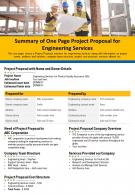 Summary Of One Page Project Proposal For Engineering Services Presentation Report PPT PDF Document