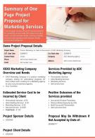 Summary Of One Page Project Proposal For Marketing Services Presentation Report PPT PDF Document