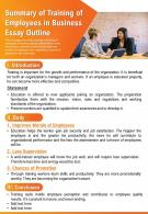 Summary Of Training Of Employees In Business Essay Outline Presentation Report Infographic PPT PDF Document
