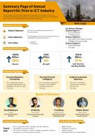 Summary Page Of Annual Report For Firm In ICT Industry Presentation Report Infographic PPT PDF Document