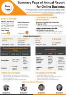 Summary Page Of Annual Report For Online Business Presentation Report Infographic PPT PDF Document