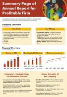 Summary Page Of Annual Report For Profitable Firm Presentation Report Infographic PPT PDF Document