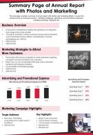 Summary Page Of Annual Report With Photos And Marketing Presentation Report Infographic PPT PDF Document