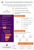 Summary Page Of Branding Challenges And Opportunities Presentation Report Infographic PPT PDF Document