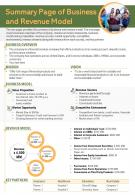 Summary Page Of Business And Revenue Model Presentation Report Infographic PPT PDF Document