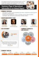 Summary Page Of Operational Information In An Annual Report Presentation Report PPT PDF Document