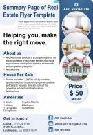 Summary Page Of Real Estate Flyer Template Presentation Report Infographic PPT PDF Document