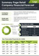 Summary Page Retail Company Financial Forecast Presentation Report Infographic PPT PDF Document