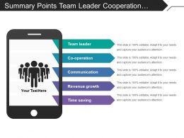 Summary Points Team Leader Cooperation Revenue Growth Time Saving