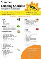 Summer Camping Checklist Presentation Report Infographic PPT PDF Document