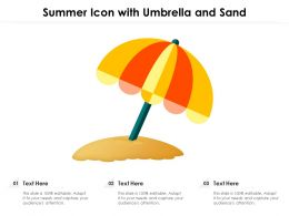 Summer Icon With Umbrella And Sand
