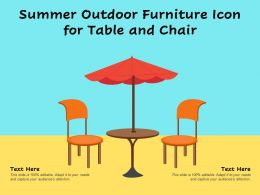 Summer Outdoor Furniture Icon For Table And Chair