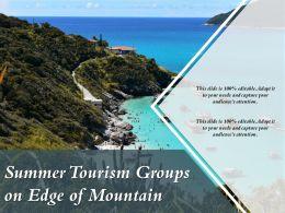 Summer Tourism Groups On Edge Of Mountain