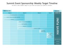 Summit Event Sponsorship Weekly Target Timeline