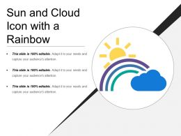Sun And Cloud Icon With A Rainbow